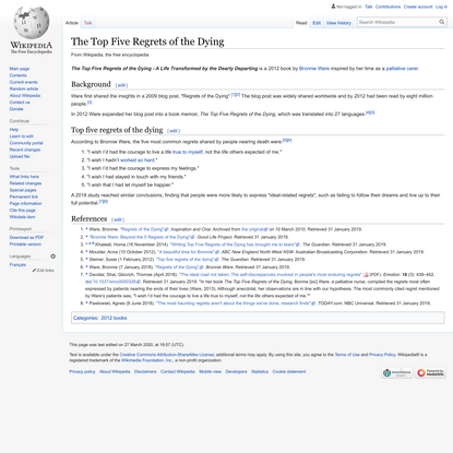 The Top Five Regrets of the Dying - Wikipedia