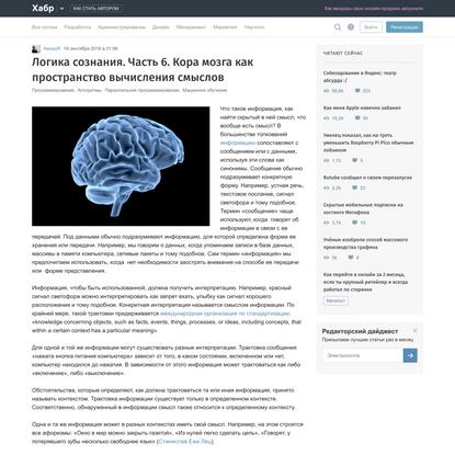 Логика сознания. Часть 6. Кора мозга как пространство вычисления смыслов