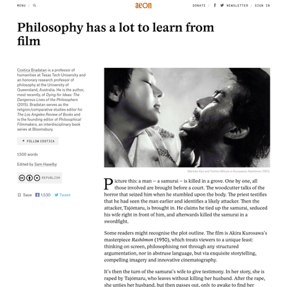 Philosophy has a lot to learn from film - Costica Bradatan | Aeon Ideas