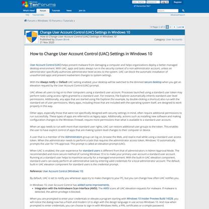 Change User Account Control (UAC) Settings in Windows 10