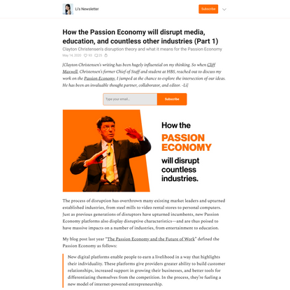 How the Passion Economy will disrupt media, education, and countless other industries