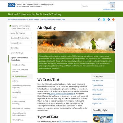 Air Quality | Tracking | NCEH | CDC