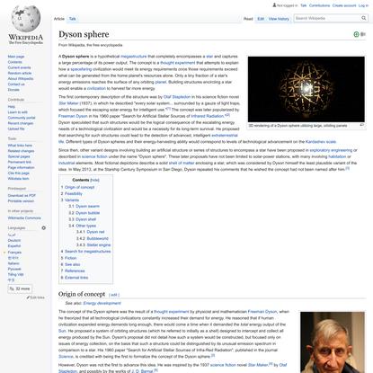 Dyson sphere - Wikipedia