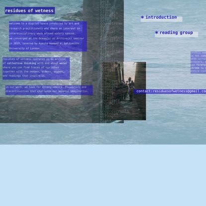 residues of wetness