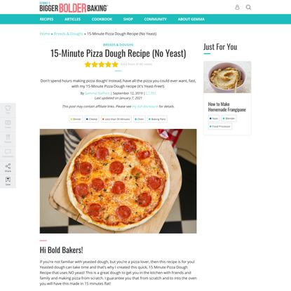 15-Minute Pizza Dough Recipe (No Yeast)   Bigger Bolder Baking