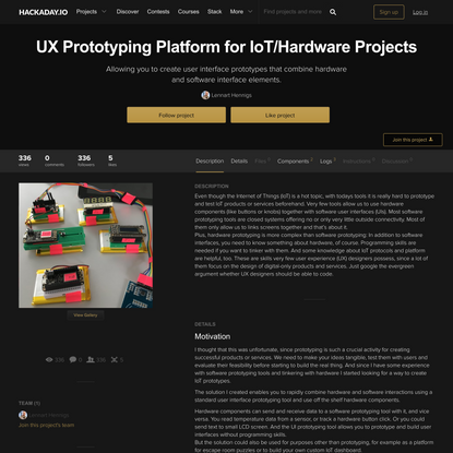 UX Prototyping Platform for IoT/Hardware Projects