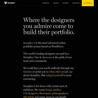 Semplice - Create your custom online design portfolio