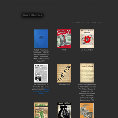 Dark Matter Archives – Gregory Sholette | Dark Matter Archives, Art Archive, Gregory Sholette, Art Organizations, Art Survey