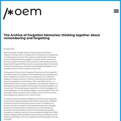 The Archive of Forgotten Memories: thinking together about remembering and forgetting – POEM – Participatory Memory Practices