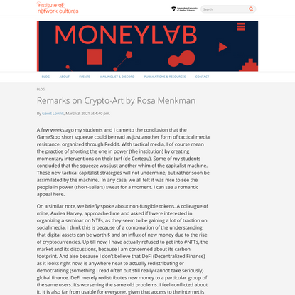 Remarks on Crypto-Art by Rosa Menkman