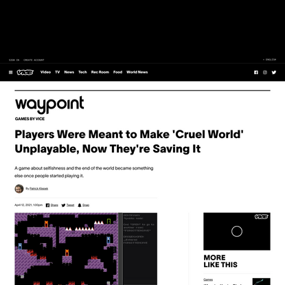 Players Were Meant to Make 'Cruel World' Unplayable, Now They're Saving It