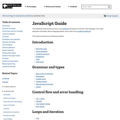 JavaScript Guide - JavaScript   MDN