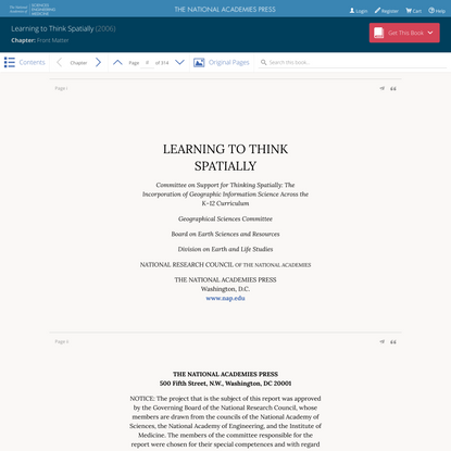 """Read """"Learning to Think Spatially"""" at NAP.edu"""