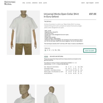 Universal Works Open Collar Shirt in Ecru Oxford