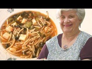 Maria makes a Sicilian bucatini pasta with summer squash 'tenerumi' leaves