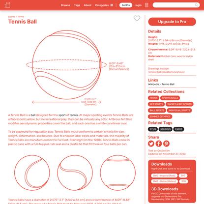 Tennis Ball Dimensions & Drawings | Dimensions.com