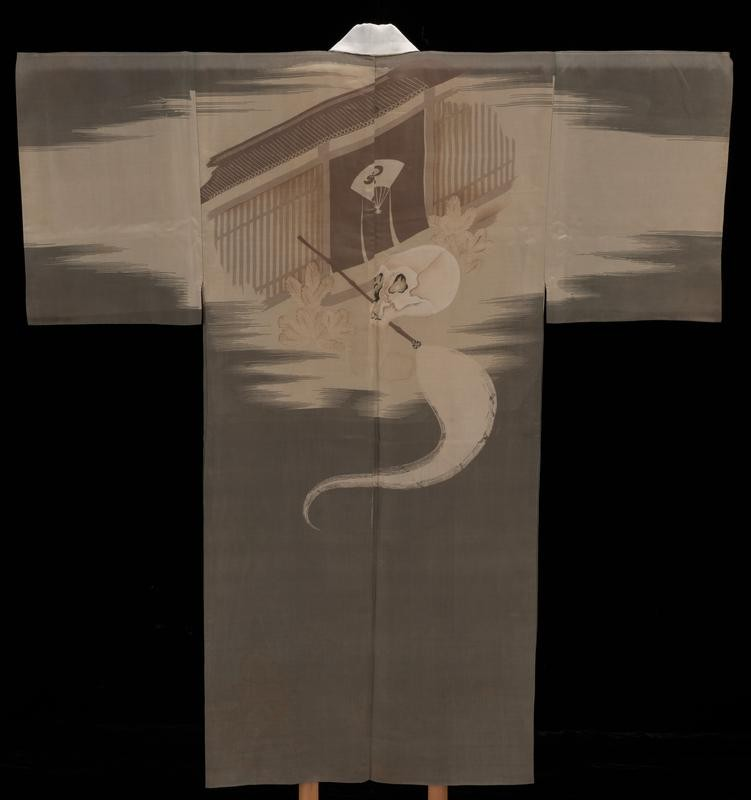 Undergarment (juban) decorated with a skull and a fly whisk, 1930s