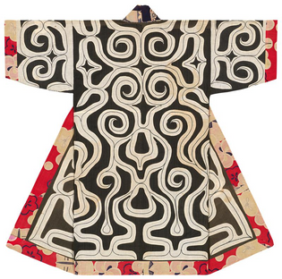 Kaparamip robe with red cotton fabric border, first half 20th century