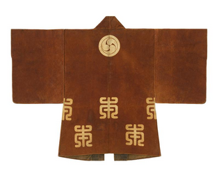 Fireman's parade leather coat (kawabaori) with family crest, 19th century