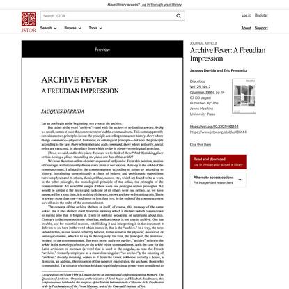 Archive Fever: A Freudian Impression on JSTOR