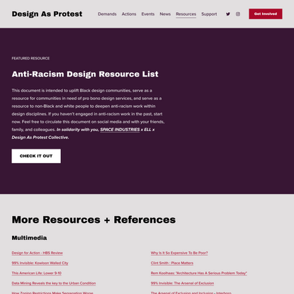 Resource List — Design As Protest