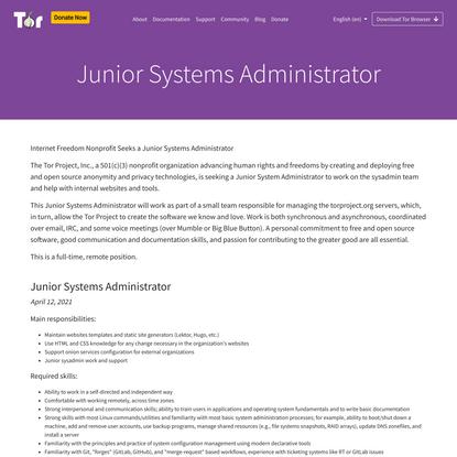 Tor Project, Junior Sysadmin