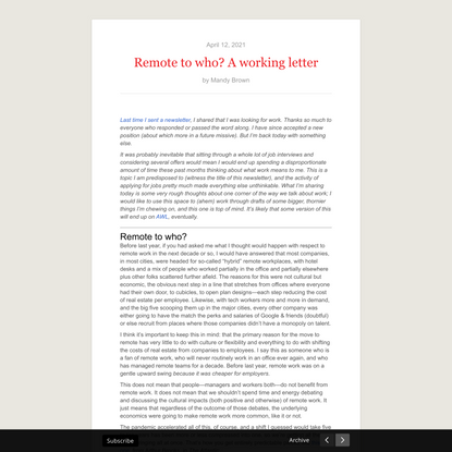 Remote to who? A working letter