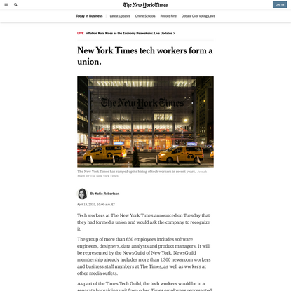 New York Times tech workers form a union.