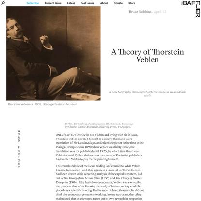 A Theory of Thorstein Veblen | Bruce Robbins