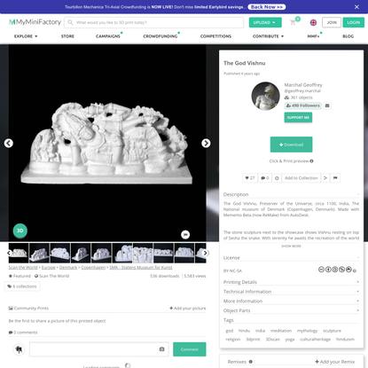 3D Printable The God Vishnu by Marchal Geoffrey
