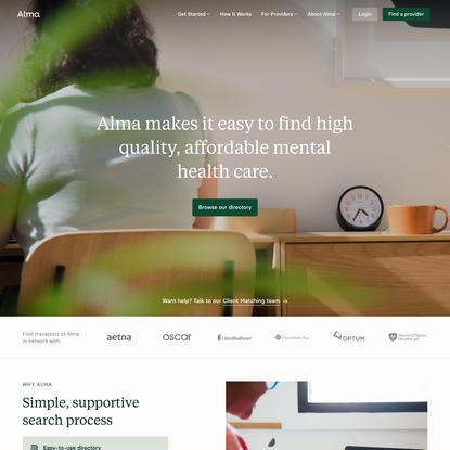 Alma — Simplifying Access to Therapy