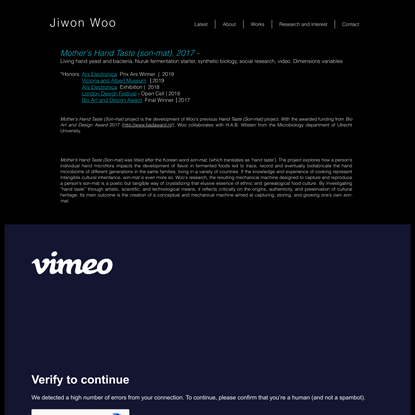 Jiwon Woo | Mother's Hand Taste (Son-mat) | Bio Art and Design Award