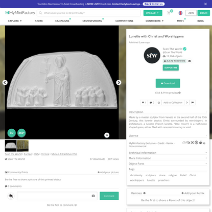 3D Printable Lunette with Christ and Worshippers by Scan The World