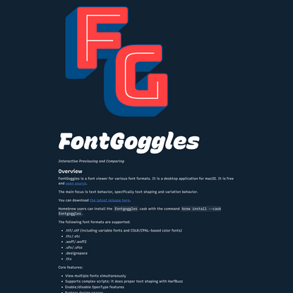 FontGoggles — Interactive Previewing and Comparing