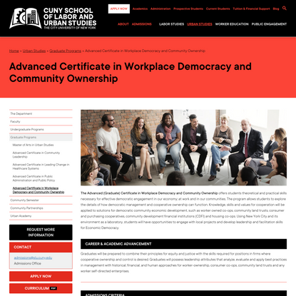 – Advanced Certificate in Workplace Democracy and Community OwnershipCUNY School of Labor and Urban Studies