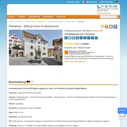 Plantahaus - Stiftung Ferien im Baudenkmal , Bündner Herrschaft