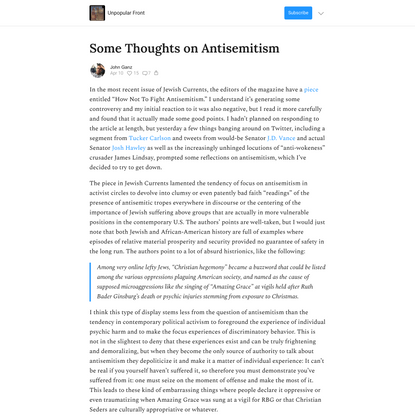 Some Thoughts on Antisemitism