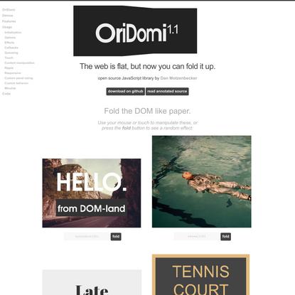 OriDomi - origami for the web