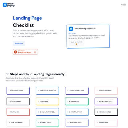 Landing Page Checklist | 100+ Tools to Build a Landing Page