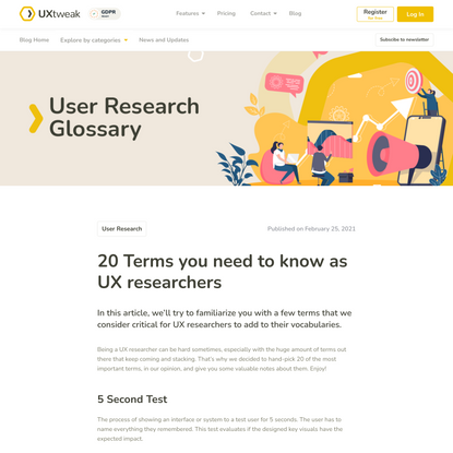 20 Terms you need to know as UX researchers