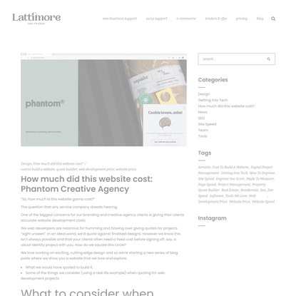 How much did this website cost: Phantom - Lattimore and Friends