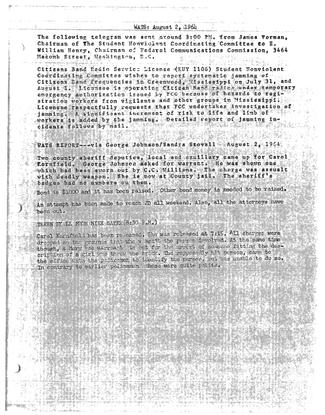 SNCC WATS Report 08/02/1964