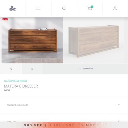 Matera 6 Dresser 3d model by Design Connected