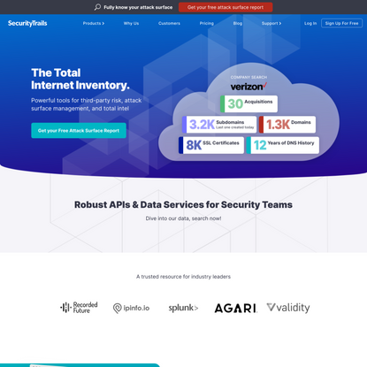 SecurityTrails | The World's Largest Repository of Historical DNS data