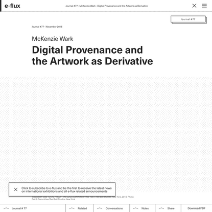 Digital Provenance and the Artwork as Derivative