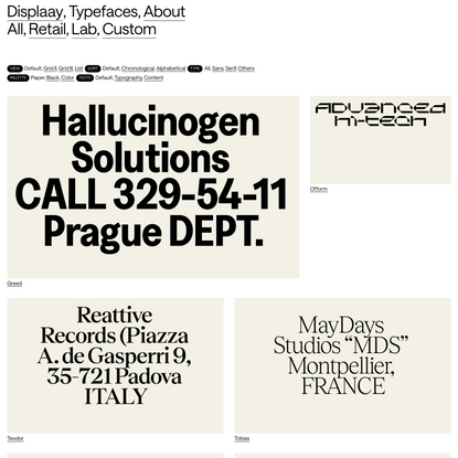 Typefaces - Displaay Type Foundry