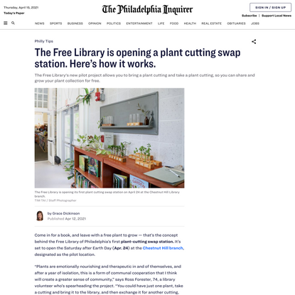 Bring a plant cutting, take one. The Free Library is opening a plant swap station. Here's how it works.