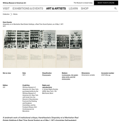 Hans Haacke | Shapolsky et al. Manhattan Real Estate Holdings, a Real-Time Social System, as of May 1, 1971
