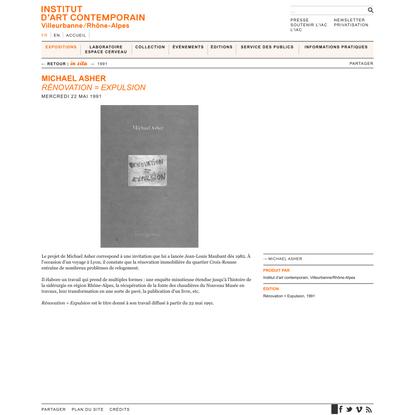 Michael Asher → Rénovation = Expulsion ← in situ ← EXPOSITIONS ← IAC — Institut d'art contemporain — Villeurbanne/Rhône-Alpes