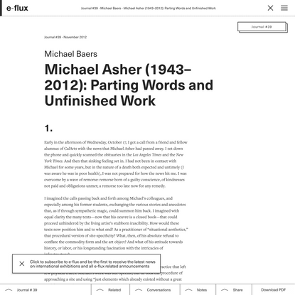 Michael Asher (1943–2012): Parting Words and Unfinished Work